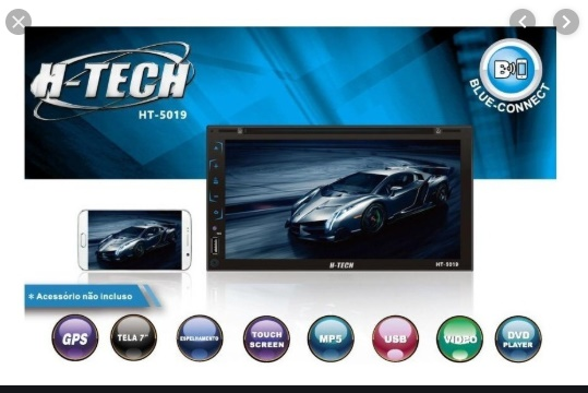 "Multimidea H-TECH 7""USB/SD/AUX/BT/GPS Espelhamento"